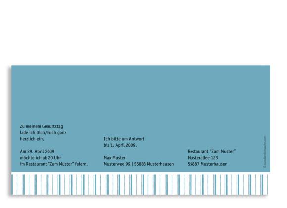 Rückseite, Einladungs-Postkarte zum Geburtstag, Motiv Stripes 2, Farbversion: blau