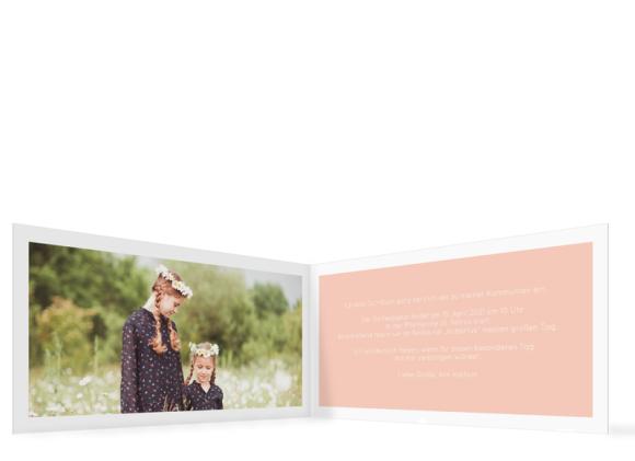 Kommunionseinladung (Klappkarte Din Lang mit Foto), Motiv: Glauben, Innenansicht, Farbvariante: apricot