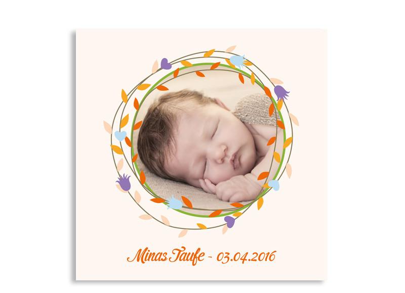 Taufeinladungen Mina/Moritz (quad. Postkarte) Orange