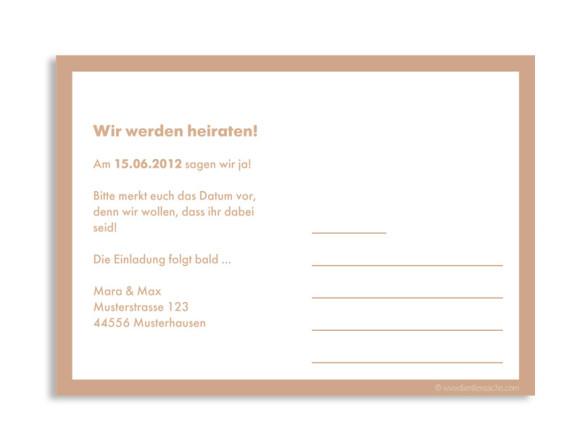 Rückseite, Einladungs-Postkarte zur Hochzeit, Motiv Verona, Farbversion: beige