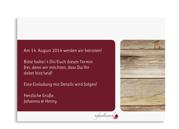 Rückseite der STD-Karte Zürich zur Hochzeit, Farbversion: bordeaux