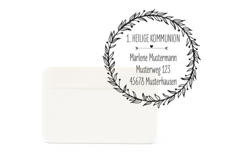 """Adress-Stempel zur Kommunion, Motiv """"Nature"""", rund, ca. 45 x 45 mm, Selbstfärber, personalisiert"""