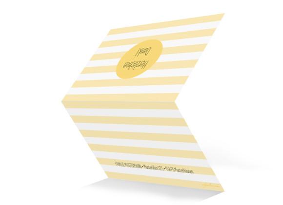 Danksagung zur Konfirmation Motiv Lucky Stripes, Außenansicht, Farbversion: gelb