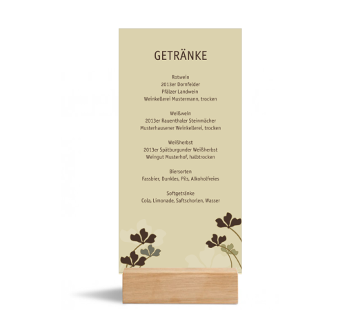 Menükarte (Postkarte DIN Lang hochkant), Motiv: Growing, Rückseite, Farbvariante: beige