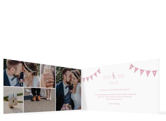 Danksagungen Hochzeit (Klappkarte DL quer), Motiv: Malmö, Innenansicht, Farbvariante: rosa