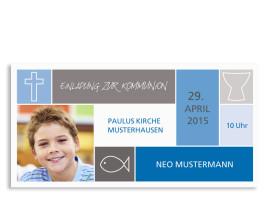 Kommunionseinladung Nora/Neo (Postkarte) Blau