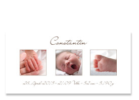 Geburtskarte Celine/Constantin (Postkarte) Braun