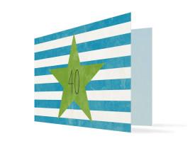 Einladung zum 40. Geburtstag Vintage Star (Klappkarte) Blau/Grün