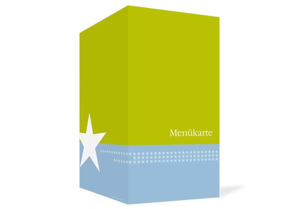 Außenansicht, Menükarte zur Hochzeit (Klappkarte), Motiv New York, Farbversion: blau-gruen
