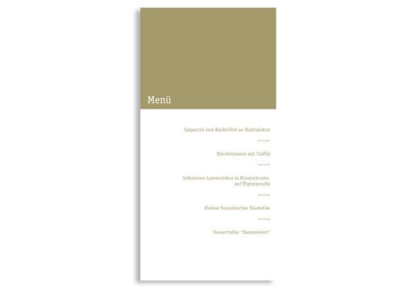 Rückseite, Menükarte zur Hochzeit (DIN Lang-Karte, zweiseitig), Motiv Colour, Farbversion: beige