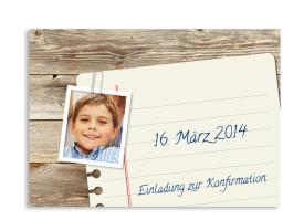 Konfirmationseinladung Notizzettel (Postkarte mit Foto) Braun
