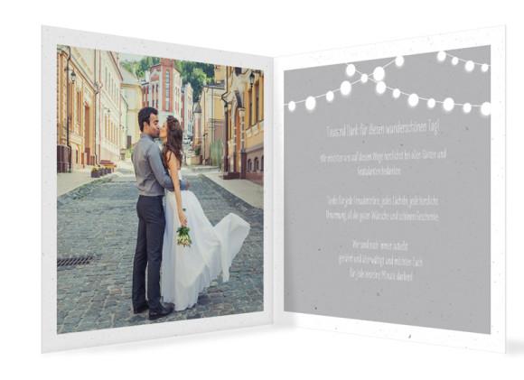 Hochzeitsdanksagung Lichterkette, quadr. Klappkarte, Innenansicht in grau