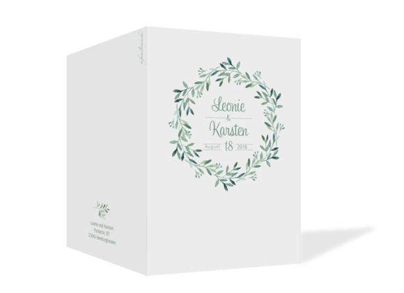 Hochzeitseinladungen (Klappkarte C6), Motiv: Blätterkranz, Aussenansicht, Farbvariante: gruen