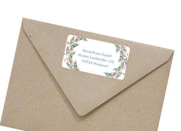 Absender-Adressetikett rechteckig , Motiv: Kartenformat, mit Briefhülle, Farbvariante: beerenblau