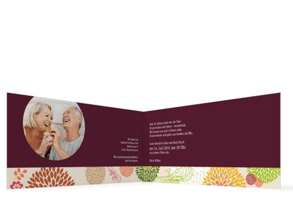 Innenansicht, Einladungs-Klappkarte zur Silbernen Hochzeit (Format DIN Lang), Motiv Lissabon, Farbversion: bordeaux