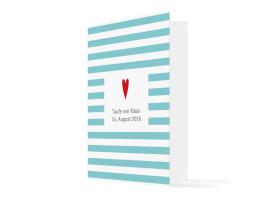 Danksagungskarte zur Taufe Herzchen Türkis