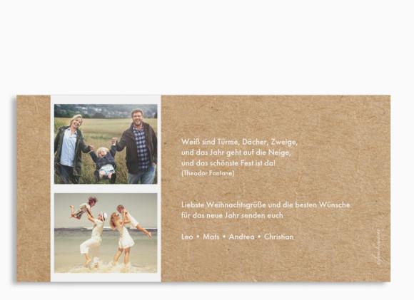 Weihnachtskarte Waldtiere, Rückseite der Farbversion: weiß
