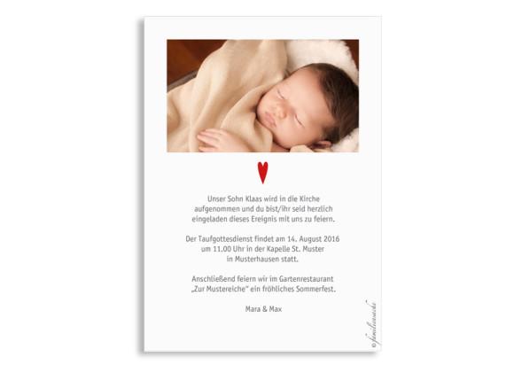 Einladung zur Taufe, Motiv Herzchen, Postkarte A6, Rückseite, Farbversion: petrol