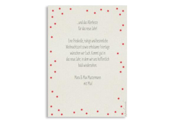 Weihnachtskarte Christmas Bubbles, Rückseite beere