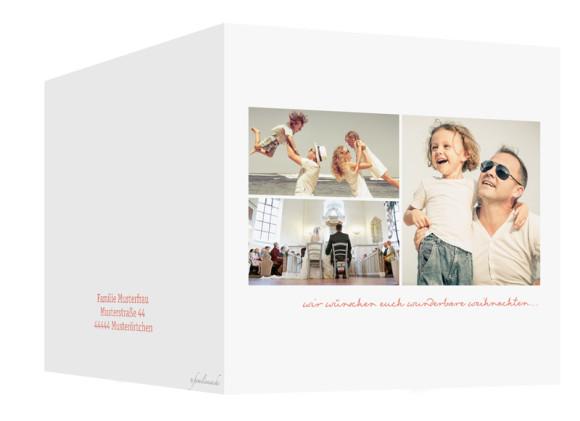 quadratische Weihnachtskarte Pure White in apricot, Außenansicht