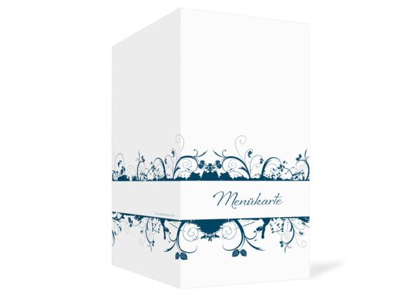 Außenansicht, Menükarte zur Hochzeit (Klappkarte), Motiv Miami, Farbversion: blau