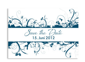 Save-The-Date-Hochzeitskarte Miami (Postkarte A6) Blau
