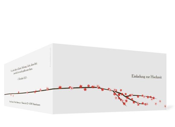 Aussenansicht, Einladungs-Klappkarte zur Hochzeit (Format DIN Lang), Motiv Yokohama, Farbversion: koralle