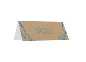 """Tischkarten """"Blumenkranz natural"""" blau"""