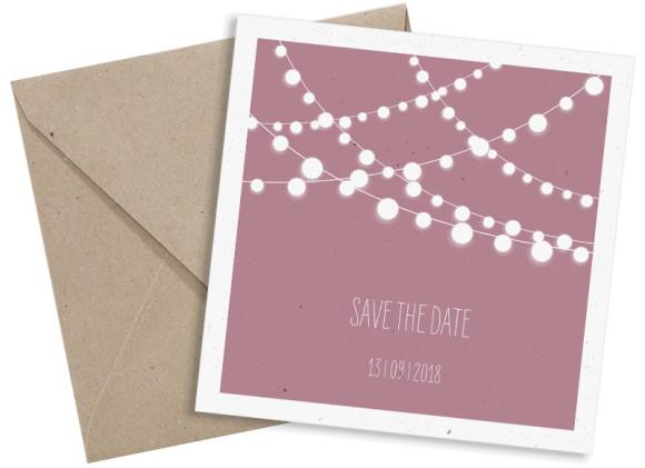 Save the Date-Postkarte 150x150, Ansicht mit Umschlag in altrosa