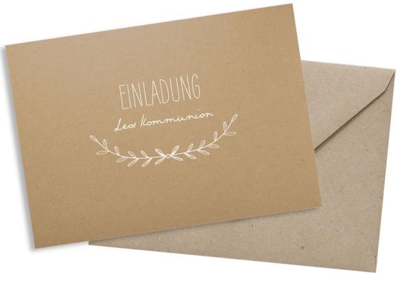 Kommunionseinladung (Postkarte A6 ohne Foto), Motiv: Zweig Natural, mit Briefhülle, Farbvariante: weiss
