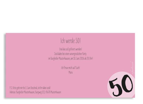 Einladungskarten Lucky Stripes, 50. Geburtstag, Postkarte, Rückseite, Farbversion: pink