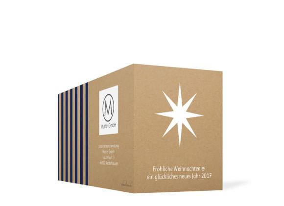 Firmen-Weihnachtskarte Geometrics (Klappkarte), Außenansicht in dunkelblau