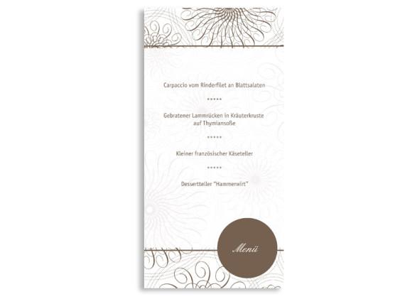 Rückseite, Menükarte zur Hochzeit (DIN Lang-Karte, zweiseitig), Motiv Mandala, Farbversion: beige