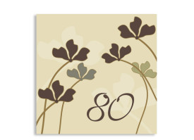 Geburtstagskarte Growing zum 80. (quad. Postkarte) Beige
