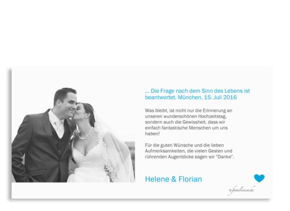 Danksagungskarten zur Hochzeit München City, Rückseite in azur