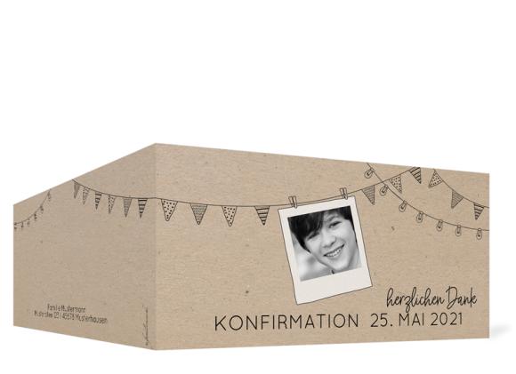 Dankeskarte zur Konfirmation (Klappkarte mit Foto), Motiv: Wimpelchen, Aussenansicht, Farbvariante: schwarz