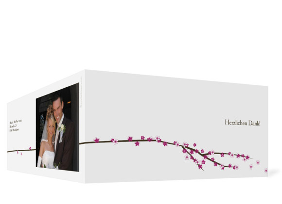 Aussenansicht, Danksagungs-Klappkarte zur Hochzeit (Format DIN Lang), Motiv Yokohama, Farbversion: pink