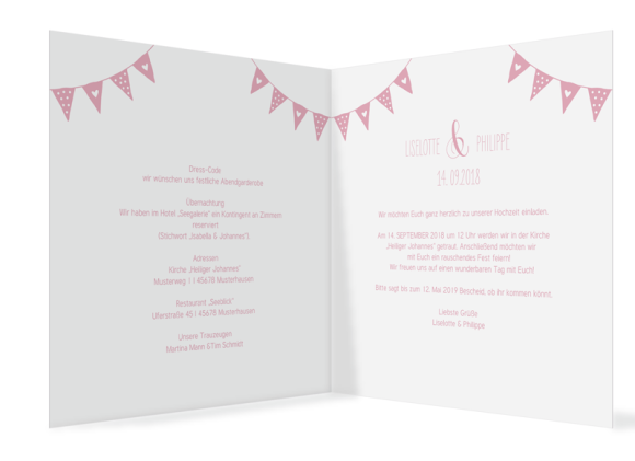 Einladungen Hochzeit (quad. Klappkarte - 300 x 150 mm), Motiv: Malmö, Innenansicht, Farbvariante: rosa