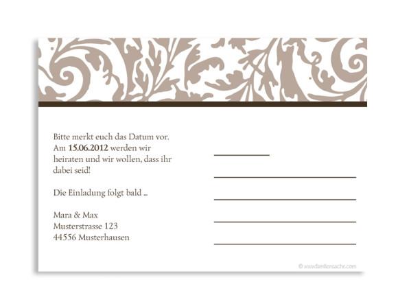 Rückseite, Einladungs-Postkarte zur Hochzeit, Motiv Rokko Weiß, Farbversion: beige