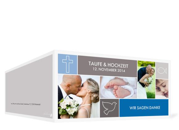 Danksagung zur Taufe & Hochzeit Athen, Außenansicht der Farbversion: blau