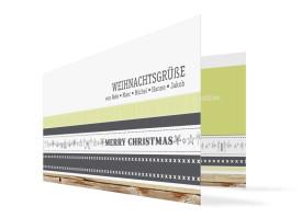 Weihnachtskarten Weihnachtsband (Klappkarte) Grau/Grün