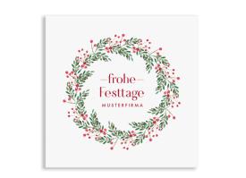 "Firmen-Weihnachtskarte ""Festtage"" quad. Postkarte beerenrot"