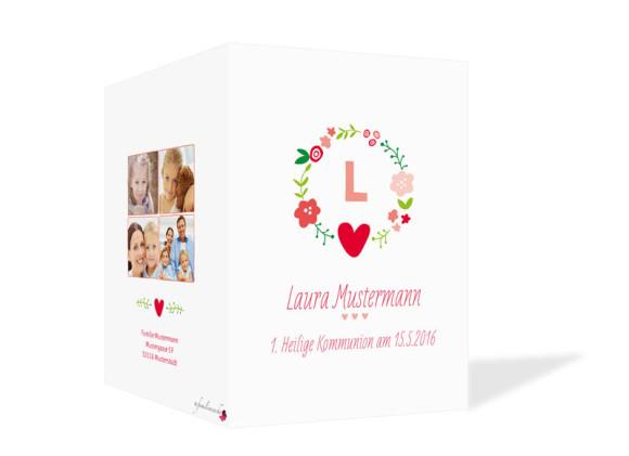 Kommunionsdanksagungen Laura/Levi, Außenseite in rot