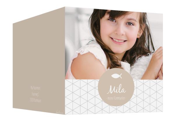 Einladung Kommunion (300 x 150 mm), Motiv: Segen, Aussenansicht, Farbvariante: beige