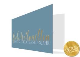 """Geschäftliche Weihnachtskarte """"Goldene Post"""" (Klappkarte)"""