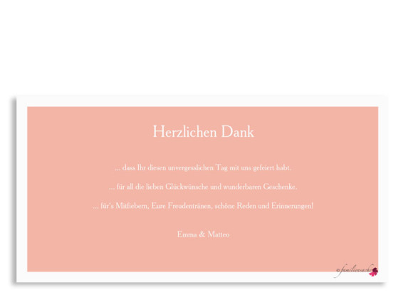 Hochzeitsdanksagung Nizza, Postkarte DL, Rüsckseite, Farbversion: apricot