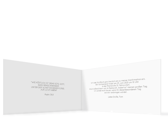 Konfirmationseinladungen (Klappkarte DL quer mit Fotos), Motiv: Weg, Innenansicht, Farbvariante: hellblau