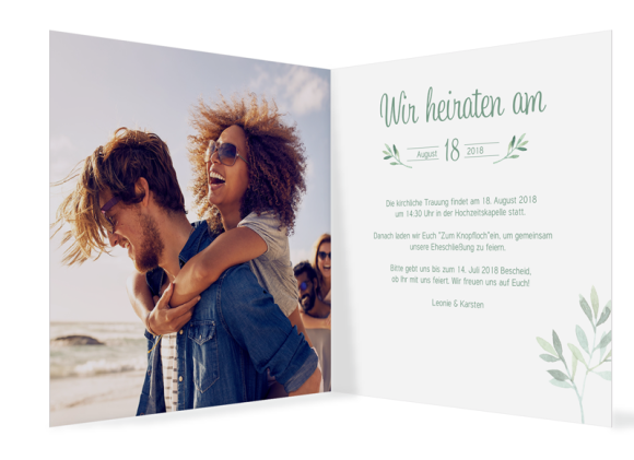 Einladungskarten Hochzeit  (quadratisch), Motiv: Blätterkranz, Innenansicht, Farbvariante: gruen