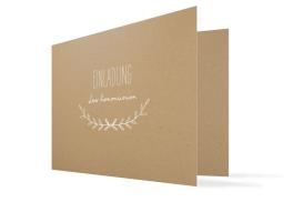 """Kommunionseinladungen """"Zweig Natural"""" (Klappkarte mit Foto)"""