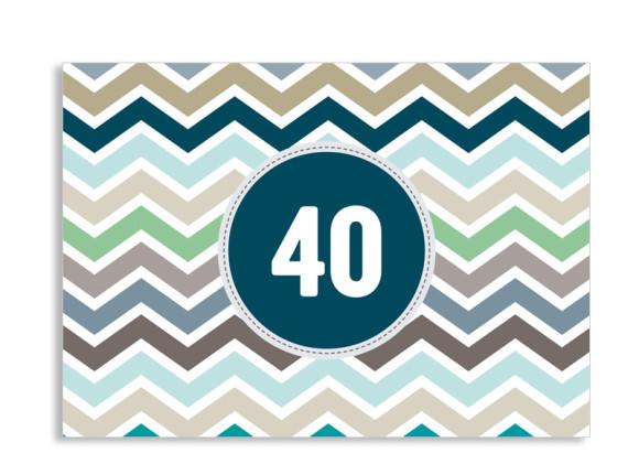 Einladungskarte ZigZag zum 40. Geburtstag